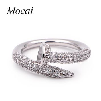Fashion Nail Rings Simple Brand Designer Gold Color Micro Pave Zircon Nails Wedding  Ring Women Jewelry 6ca85cc32f0f