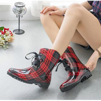 Women's Fashion Rubber Rain Flat Boots