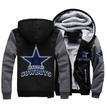 Thicken Winter Hoodies Men Women Foot Ball Cowboys Zipper Jacket Sweatshirts Coat Top Clothing Casual