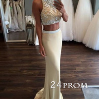 Custom Made 2 Pieces Chiffon Long Prom Dresses, Formal Dress
