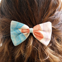 Medium Hand-printed fabric Hair Bow Barrette, Sky blue, light red and lilac for women and girls.