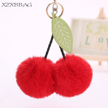 XZXBBAG Bag Parts Accessories Ornament Cute Fruit Fluffy Cherry Bag Pendant Women Plush Ball Bag Decoration Chain Ring Keychain