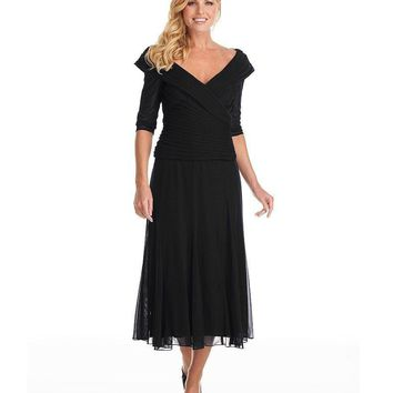 Alex Evenings 132141 Ruched Off Shoulder Tea Length Dress - 1 pc Black In Size 14, and 1 pc Moonlight in Size 10 Available