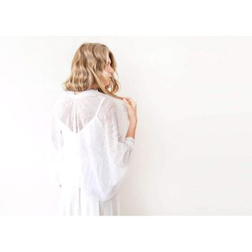 Ivory lace shrug, Bridal Cover Up