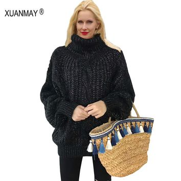 Women's Winter High collar Pullover Sweater coarse lines female 2017 new Loose big yards Thick Mohair Sweater coat Female