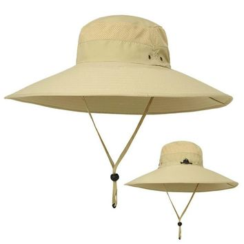 Wide Brim Bucket Hats for Men Women Outddoor Sunhat Sun Protection Fishing Hat Casual Jungle Fisherman Hat Summer