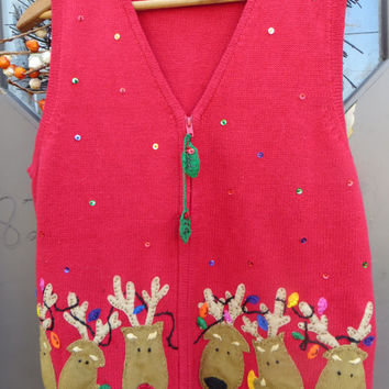 Ugly Christmas   Sweater    RED   Cardigan vest   with reindeer  sequins xmas  lights     sz  large