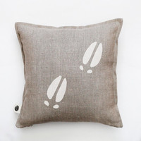 Moose tracks pillow - white moose tracks hand painted on this cushion. Custom size for this decorative pillow 0415