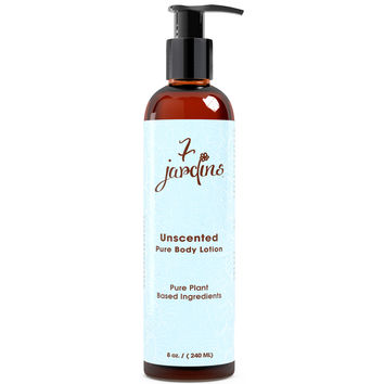 7 Jardins Unscented Pure Body Lotion - Daily Moisturizer for Sensitive and Dry Skin Enriched with Plant Based Ingredients, Plant Oils. 100% Safe, Natural & Sulfate Free