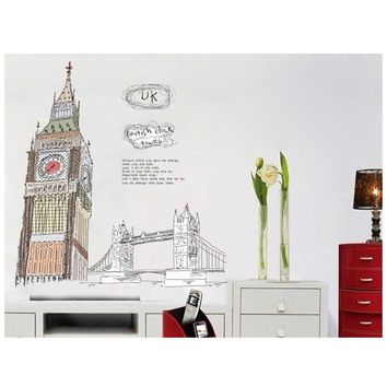 Colorful London Big Ben Wall Decal Removable Cartoon Sticker Art Home Mural Decoration 60*90cm