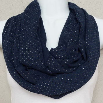 Navy with Gold Beads Infinity Scarf Milwaukee Brewers Scarf Spring Scarf Fashion Scarf Accessories Navy Circle Scarf Brewers Scarf Loop