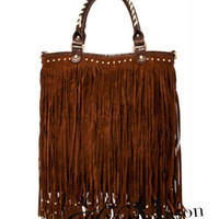 Fringe Studded Tote Bag with Long Strap - HaileyMason, LLC Store