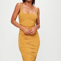 Missguided - Orange Slinky Gathered Side Midi Dress