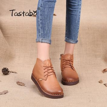 Tastabo Genuine Leather Ankle Boots High Quality Fashion Women's Boots New Short Boot 2017 Autumn Winter Black Flats Boots Women