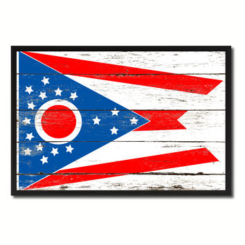 Ohio State Flag Vintage Canvas Print with Black Picture Frame Home DecorWall Art Collectible Decoration Artwork Gifts