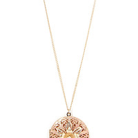 FOREVER 21 Etched Filigree Locket Necklace Gold/Peach One