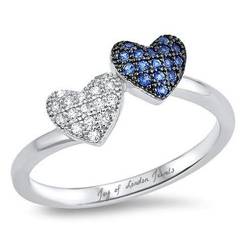 A Blue Sapphire & Russian Lab Diamond Pair of Hearts Promise Ring