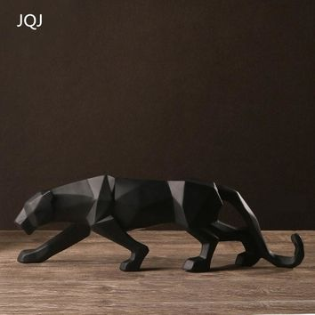 JQJ Resin Abstract Black Panther Sculpture Figurine Handicraft Home Desk Decor Geometric Resin Wildlife Leopard Statue Craft