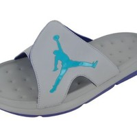 Nike Men's NIKE JORDAN RCVR SLIDE SELECT SANDALS 13 Men US (MATTE SILVER/NW EMERALD/GRP IC)