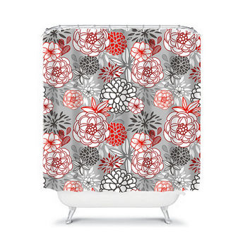 Shower Curtain Flower Red Black Gray Floral Swirl Bathroom Bath Polyester Made in the USA
