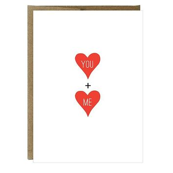 You + Me Hearts Letterpress Greeting Card