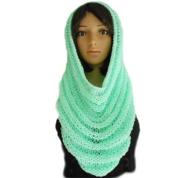 Hand Knit Soft Green Infinity Scarf or Hooded Cowl