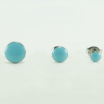 SKY BLUE Stud Earrings - Sky Blue Earrings - Blue Ear Studs - Blue Earrings Stud - Blue Post Earrings - Surgical Steel - 4mm / 6mm / 8mm