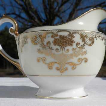 Gold and Ivory Creamer, Porcelain Rose Creamer, F B Co Meito China, Goldwyn Pattern, Rose Pattern Creamer, Elegant  Creamer, Goldwyn Creamer