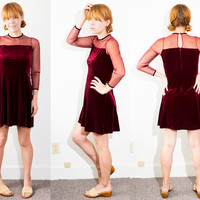 vtg 90s velvet mesh mini skater dress burgundy maroon choker XS