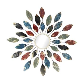 Metal Wall Decor Sunburst Leaves Wall Mirror By Home Source