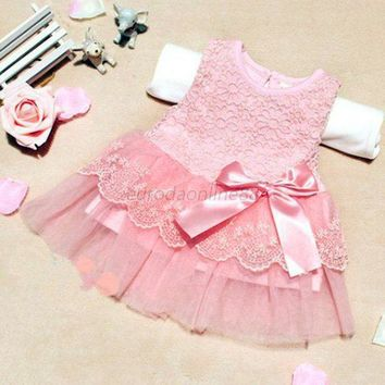 New Stylish Baby Kids Girls Princess Formal Party Tutu Lace Bowknot Flower Dress Clothes S01
