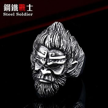 Steel soldier Pilgrimage to the West stone money stainless steel men punk ring Chinese classic style movie jewelry
