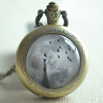The Full Moon Watch,Light tower and flying birds Space Picture pendant necklace,Steampunk Galaxy Watch Necklace jewelry,unisex(HB015)