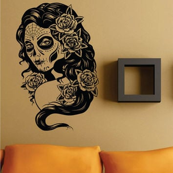 Wall Vinyl Sticker Decals Decor Art Bedroom Design Mural Extra Large Day of the Dead Woman Version 101 Skull  Sugar Skull Sugarskull