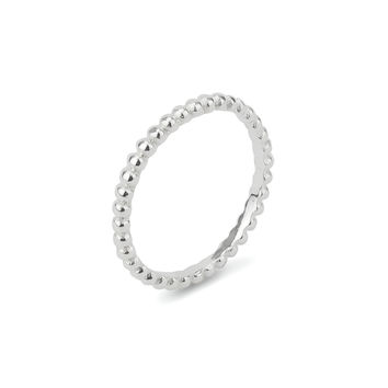 Stackable Eternity Beaded Sterling Silver 925 Ring