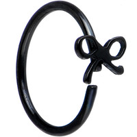 "20 Gauge 5/16"" Black IP Girly Bow Nose Hoop 