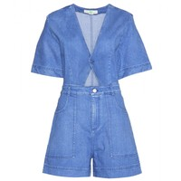 Cut-out denim playsuit