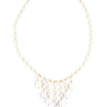 Chan Luu White Crystal Frontal Necklace