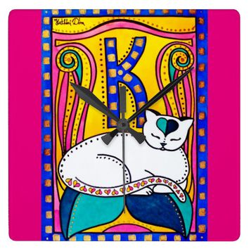 Peace And Love Cat Art Square Wall Clock