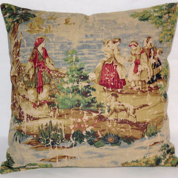 "Colorful Pictorial Toile Pillow Vintage Look 18"" Square Covington Bosporus Blue Green Red Tan Ladies & Trees Linen Blend  Ready Ship"