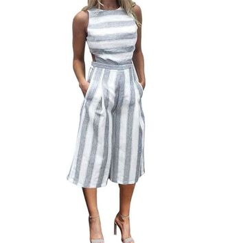 Casual Striped Jumpsuit Women Summer 2019 Sexy Backless Rompers O-Neck Sleeveless Jumpsuits Pockets Wide Leg Pants Overalls S-XL