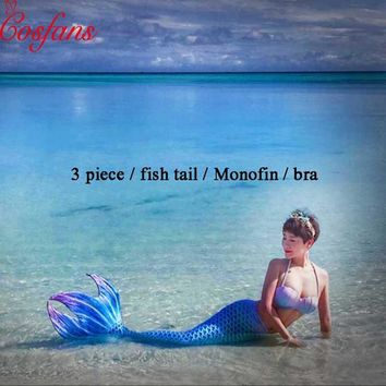 3-piece new mermaid tail with Monofin bikini plastic adult women Cosplay costume swimming mermaid tail swimsuit swimming tail