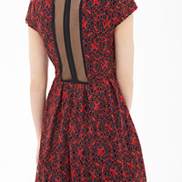 FOREVER 21 Crochet Lace Fit & Flare Dress Black/Red