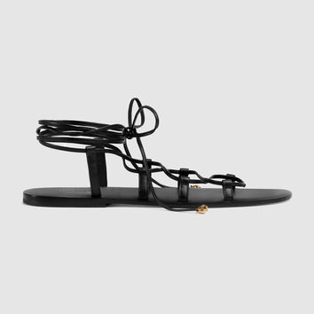 Gucci Leather sandal with feline heads
