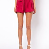 ASOS Belted Shorts with Turn Up at asos.com