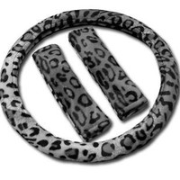 Animal Print Steering Wheel Cover and Shoulder Pad - Snow Leopard
