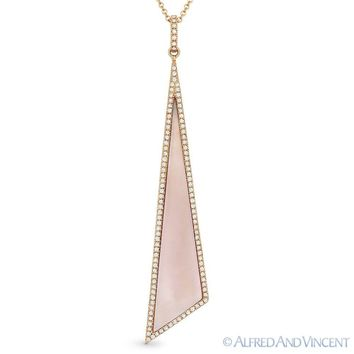 Pink Mother-of-Pearl 0.25ct Round Diamond 14k Rose Gold Pendant & Chain Necklace