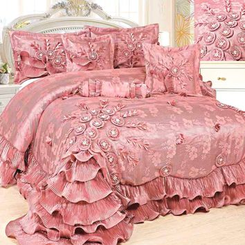 Tache 6 PC Floral Royal Princess Dream Solid Pink Ruffle Comforter Set (BM1227)