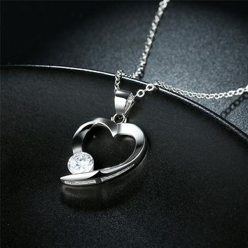 Women Silver Necklace Love Heart 925 Sterling Silver Fashion Jewelry Couple Link Chain Pendant Necklace