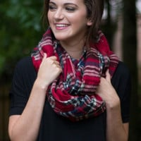 Plaid To Meet You Infinity Scarf Red
